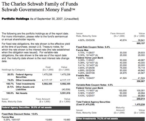Schwab Govt MM Holdings