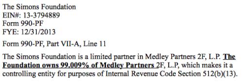 Simonsfoundation99%ownershipmedley